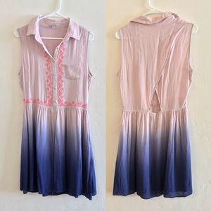 Anama Pink & Purple Ombre Open Back Dress Medium